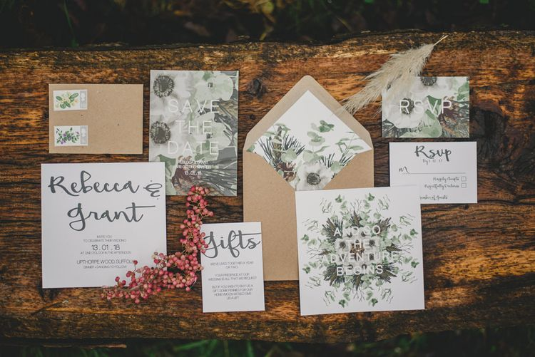 Wedding Stationery | Woodland Inspiration at Upthorpe Wood in Suffolk | Hippie Festival Vibes | Boho Bride in Lace Gown | Autumnal Flowers & Pampas Grass | Georgia Rachael Photography