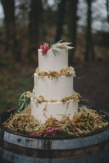 Woodland Wedding Cake | Woodland Inspiration at Upthorpe Wood in Suffolk | Hippie Festival Vibes | Boho Bride in Lace Gown | Autumnal Flowers & Pampas Grass | Georgia Rachael Photography