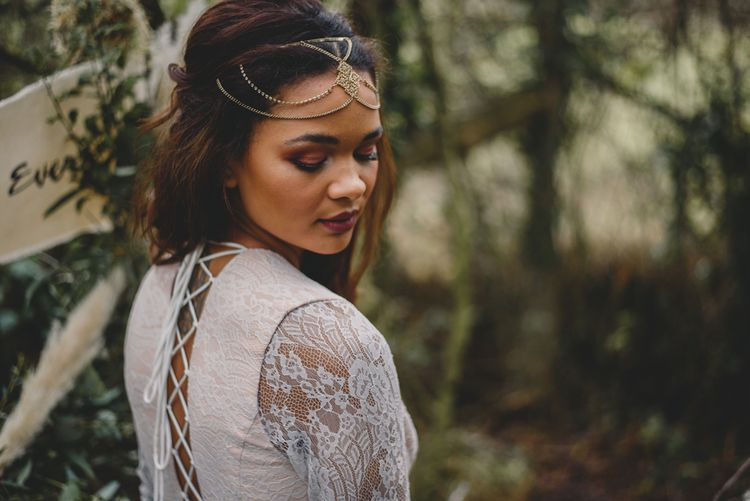 Bridal Beauty | Woodland Inspiration at Upthorpe Wood in Suffolk | Hippie Festival Vibes | Boho Bride in Lace Gown | Autumnal Flowers & Pampas Grass | Georgia Rachael Photography
