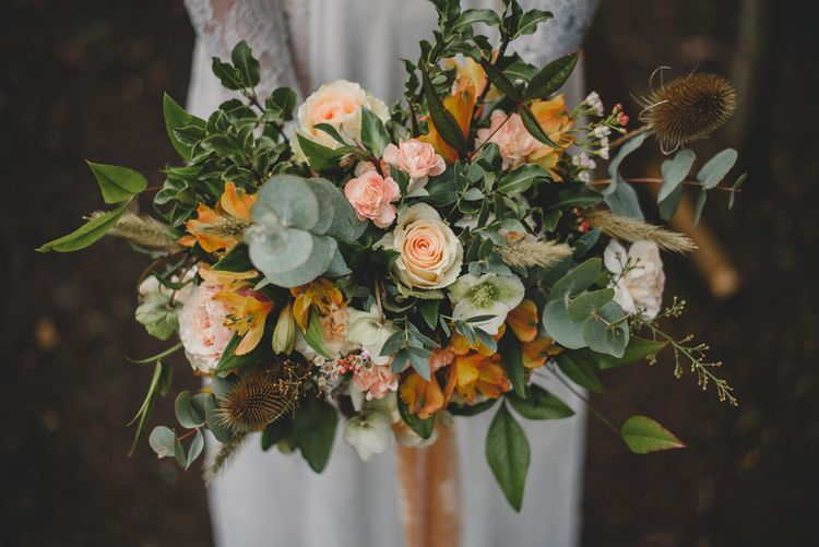 Peach Rose & Foliage Bouquet | Woodland Inspiration at Upthorpe Wood in Suffolk | Hippie Festival Vibes | Boho Bride in Lace Gown | Autumnal Flowers & Pampas Grass | Georgia Rachael Photography
