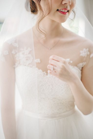 Bride in Bespoke Illusion Neck Gown | M and J Photography