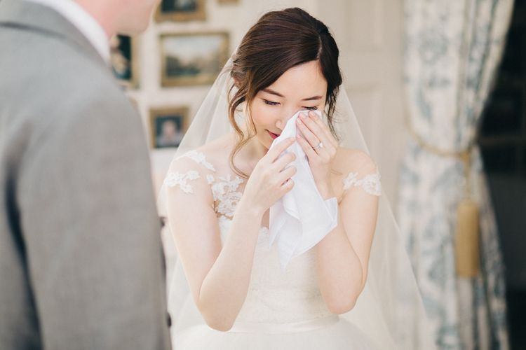 Emotional Bride in Bespoke Illusion Neck Gown | M and J Photography