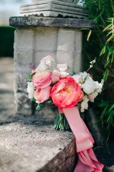 Coral Peony & Ranunculus Bouquet | M and J Photography