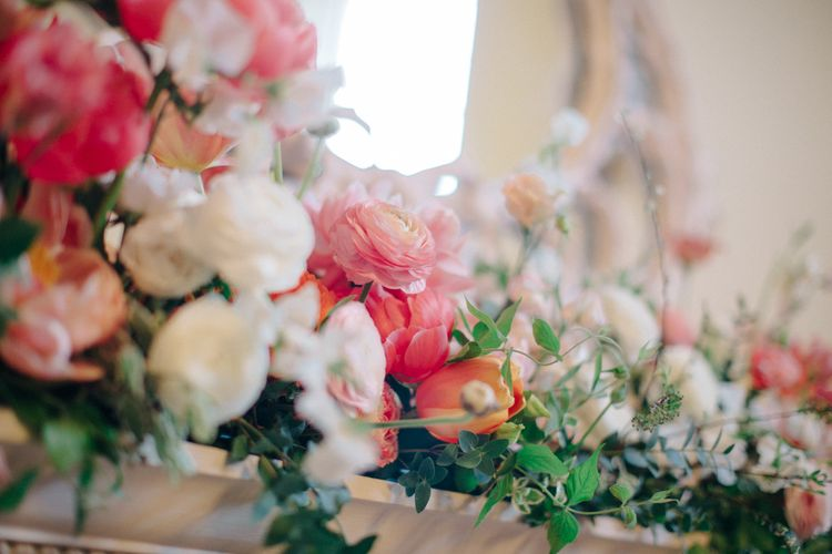 Coral & White Floral Arrangement | Timeless Wedding Assembly Rooms in Bath | M and J Photography