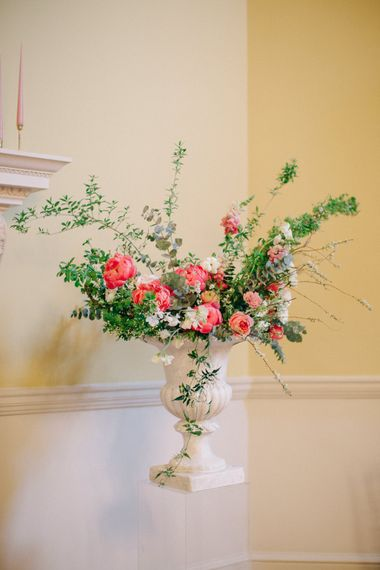 Coral Floral Arrangement | Timeless Wedding Assembly Rooms in Bath | M and J Photography