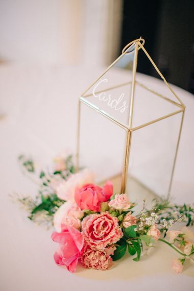 Gold Terrarium Card Box with Coral Flowers | Timeless Wedding Assembly Rooms in Bath | M and J Photography