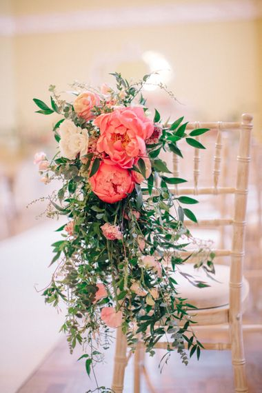 Coral Peony Flower Chair Back Decor | Timeless Wedding Assembly Rooms in Bath | M and J Photography