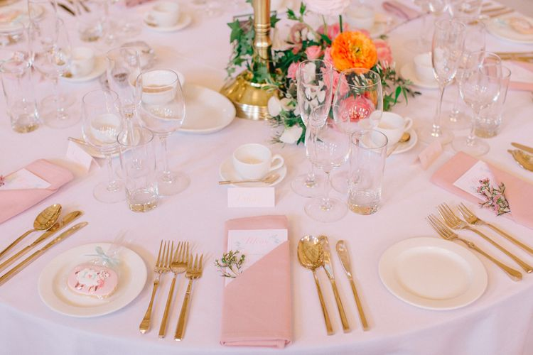 Pink & Gold Table Decor | Timeless Wedding Assembly Rooms in Bath | M and J Photography
