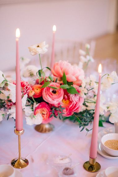 Pink & Gold Table Decor | Tapered Candles | Floral Centrepiece | Timeless Wedding Assembly Rooms in Bath | M and J Photography