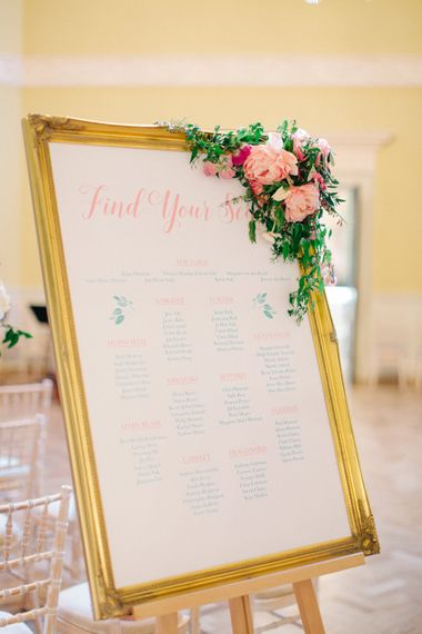 Gold Frame Table Plan with Floral Garland | Timeless Wedding Assembly Rooms in Bath | M and J Photography