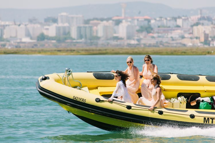 Bridesmaids Arriving by Speedboat | Jade Osborne Photography | The Amazing Rabbit Films