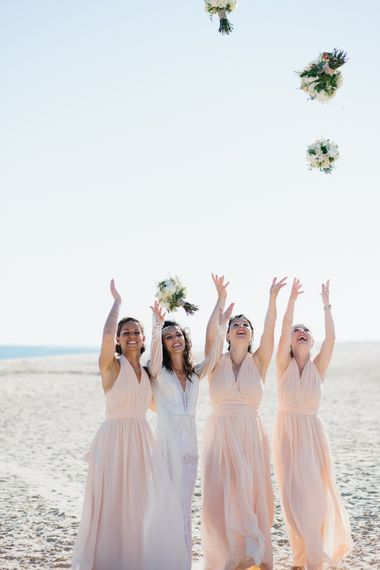Bride in Inbal Dror Wedding Dress | Bridesmaids in Pink Dresses | | Jade Osborne Photography | The Amazing Rabbit Films