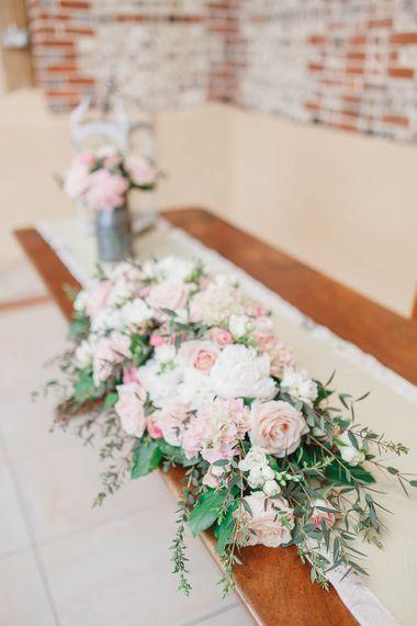 Blush Floral Arrangement | | Peach & White Wedding at Upwaltham Barns | White Stag Wedding Photography