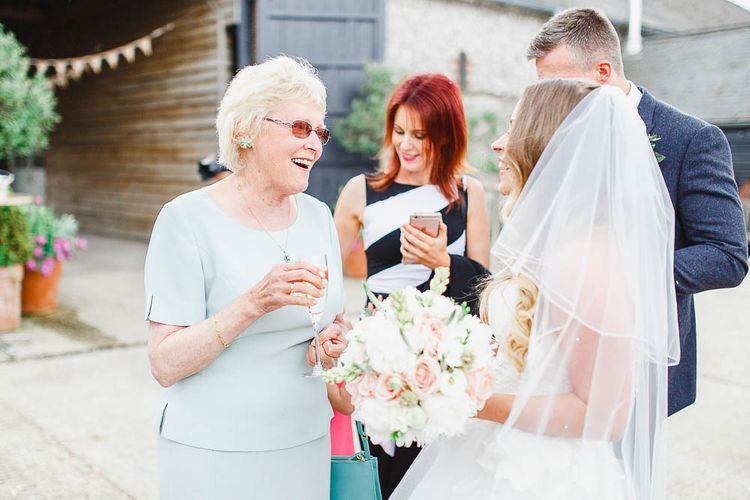 Wedding Guests | Peach & White Wedding at Upwaltham Barns | White Stag Wedding Photography