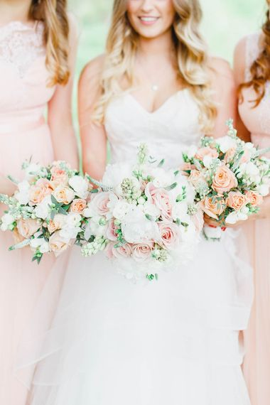 Peach & White Bouquets | Bridesmaids in Peach Chi Chi London Dresses | Bride in Warren Watters Gown | Peach & White Wedding at Upwaltham Barns | White Stag Wedding Photography