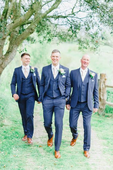 Groomsmen in Marks and Spencer Suits | Peach & White Wedding at Upwaltham Barns | White Stag Wedding Photography
