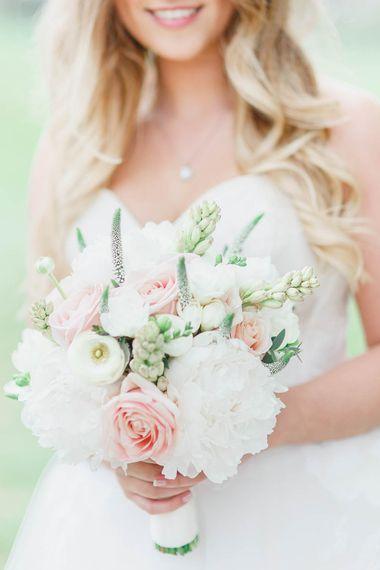 Blush & White Bridal Bouquet | | Bride in Warren Watters Gown | Peach & White Wedding at Upwaltham Barns | White Stag Wedding Photography
