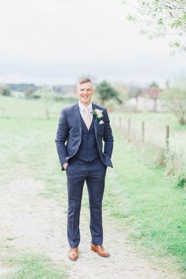 Groom in Marks and Spencer Suit | Peach & White Wedding at Upwaltham Barns | White Stag Wedding Photography