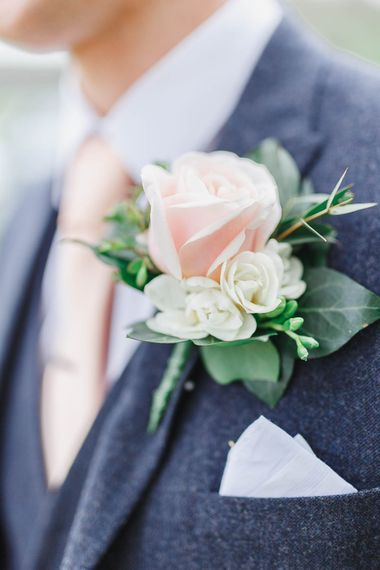 Blush Rose Buttonhole | Groom in Marks and Spencer Suit | Peach & White Wedding at Upwaltham Barns | White Stag Wedding Photography
