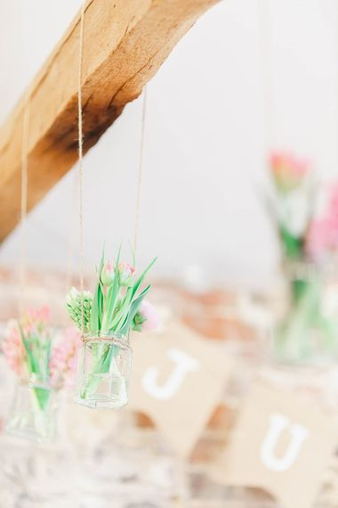 Hanging Flower Stems in JArs | Peach & White Wedding at Upwaltham Barns | White Stag Wedding Photography