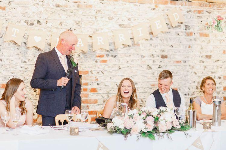 Speeches | Peach & White Wedding at Upwaltham Barns | White Stag Wedding Photography