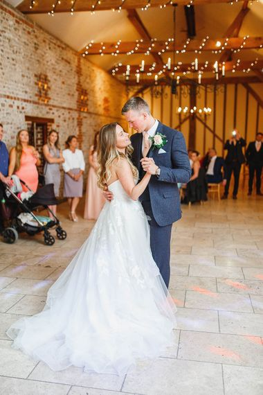 First Dance| Bride in Warren Watters Gown | Groom in Marks and Spencer Suit | Peach & White Wedding at Upwaltham Barns | White Stag Wedding Photography