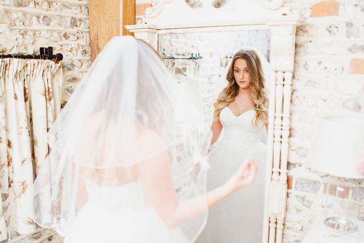 Bride in Watters Warren Wedding Dress | Peach & White Wedding at Upwaltham Barns | White Stag Wedding Photography