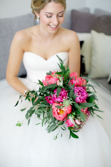 Wedding Bouquet With Peonies // Pronovias Bride For Classic Wedding At The Tithe Barn With Bridesmaids In Coast Multiway Dresses & Images From Helen Cawte Photography