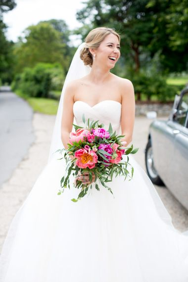 Peony Wedding Bouquet // Pronovias Bride For Classic Wedding At The Tithe Barn With Bridesmaids In Coast Multiway Dresses & Images From Helen Cawte Photography