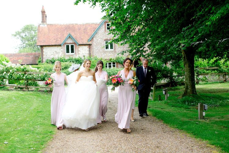 Pronovias Bride For Classic Wedding At The Tithe Barn With Bridesmaids In Coast Multiway Dresses & Images From Helen Cawte Photography