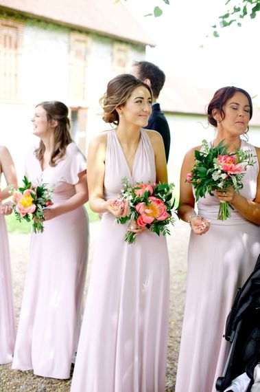 Coast Multiway Dresses For Bridesmaids // Pronovias Bride For Classic Wedding At The Tithe Barn With Bridesmaids In Coast Multiway Dresses & Images From Helen Cawte Photography