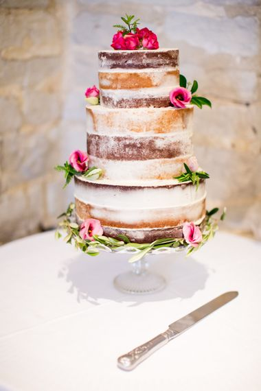 Semi Naked Wedding Cake // Pronovias Bride For Classic Wedding At The Tithe Barn With Bridesmaids In Coast Multiway Dresses & Images From Helen Cawte Photography