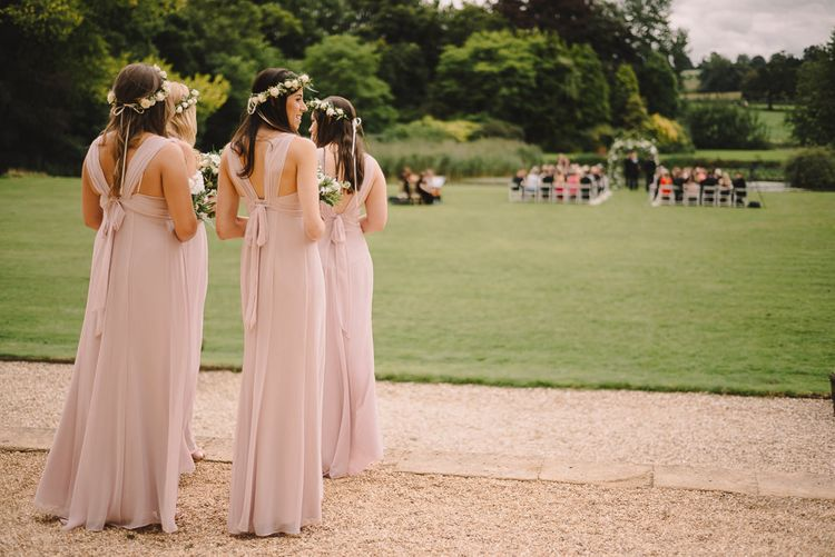 Bridesmaids In Pink Dresses By Maids To Measure // Elegant Wedding Brympton House Somerset With Bride Wearing Inbal Dror And Groom In Black Tux By Alexander McQueen With Images From Modern Vintage Weddings