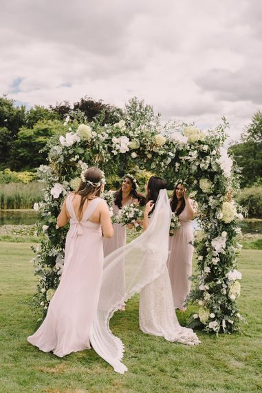 Bridesmaids In Pink Maids To Measure Dresses // Elegant Wedding Brympton House Somerset With Bride Wearing Inbal Dror And Groom In Black Tux By Alexander McQueen With Images From Modern Vintage Weddings