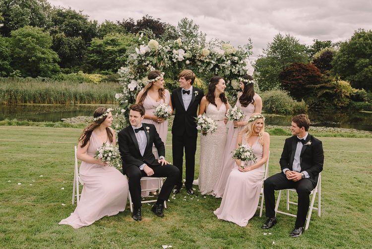 Elegant Wedding Party In Black Tie // Elegant Wedding Brympton House Somerset With Bride Wearing Inbal Dror And Groom In Black Tux By Alexander McQueen With Images From Modern Vintage Weddings