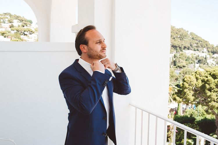 Groom in Navy Hugo Boss Suit | Augustus Gardens, Capri Italy Destination Wedding | Paolo Ceritano Photography