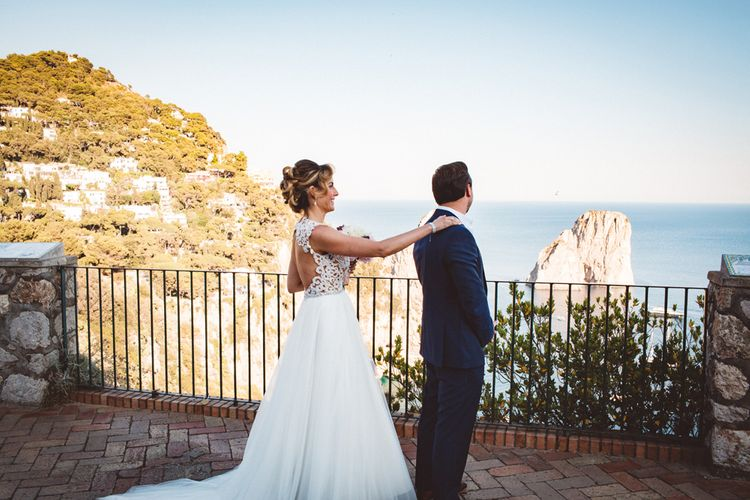 First Look | Bride in Calla Blanche Wedding Dress | Groom in Navy Hugo Boss Suit | Augustus Gardens, Capri Italy Destination Wedding | Paolo Ceritano Photography