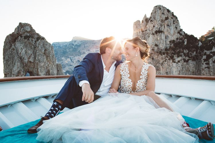 Bride in Calla Blanche Wedding Dress | Groom in Navy Hugo Boss Suit | Augustus Gardens, Capri Italy Destination Wedding | Paolo Ceritano Photography