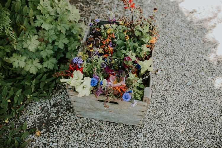 Gorgeous Wooden Crate Of Flowers