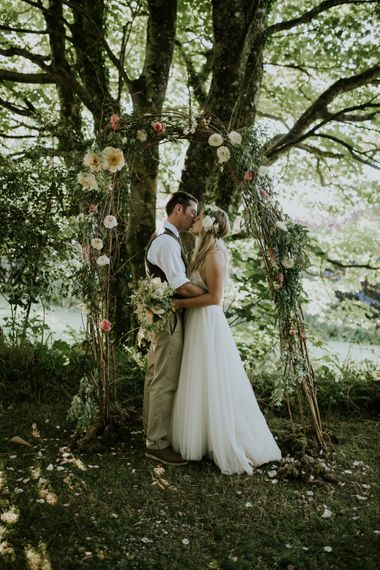 Bride and Groom Woodland Themed Wedding