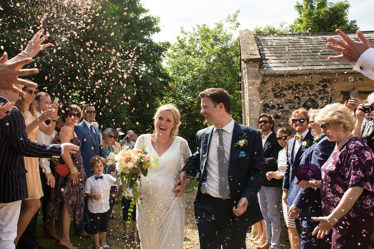 Seven Months Pregnant Bride in Eliza Jane Howell Lucille Gown & Groom in Cad & The Dandy Suit Confetti Moment