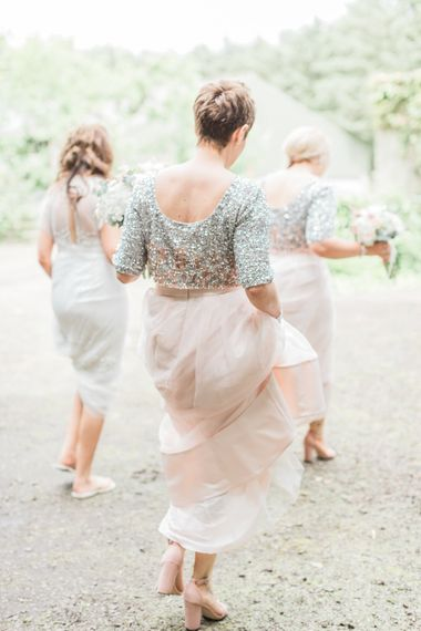 Coast Silver & Rose Gold Sequin Tops & Blush Skirt Separates