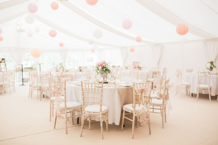 Blush Marquee Reception with Hanging Paper Lanterns