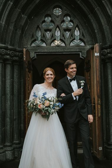 Church Wedding Ceremony | Bride in Willowby Watters 'Amelia' Gown | Groom in Hugo Boss Tuxedo | Rustic Barn Wedding in Norway | Christin Eide Photography
