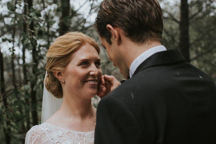 Bride in Willowby Watters 'Amelia' Gown | Groom in Hugo Boss Tuxedo | Rustic Barn Wedding in Norway | Christin Eide Photography