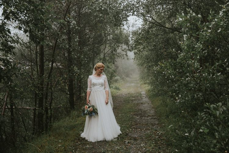 Bride in Willowby Watters 'Amelia' Gown | Rustic Barn Wedding in Norway | Christin Eide Photography