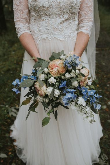 Pastel Wedding Bouquet | Bride in Willowby Watters 'Amelia' Gown | Rustic Barn Wedding in Norway | Christin Eide Photography