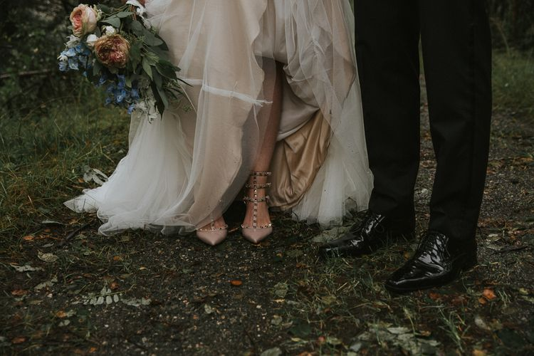 Valentino Rockstud Shoes | Bride in Willowby Watters 'Amelia' Gown | Rustic Barn Wedding in Norway | Christin Eide Photography