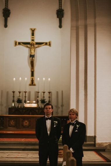 Church Wedding Ceremony | Groom in Hugo Boss Tuxedo | Rustic Barn Wedding in Norway | Christin Eide Photography