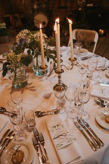 Candelabra Centrepiece | Wedding Decor | Rustic Barn Wedding in Norway | Christin Eide Photography